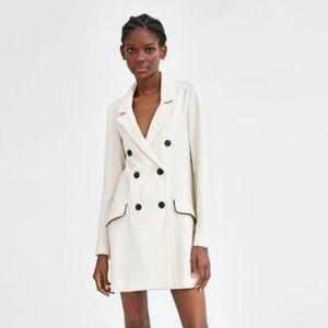 ZARA TRAFALUC Trench Coat Dress Ivory LS Large NWT